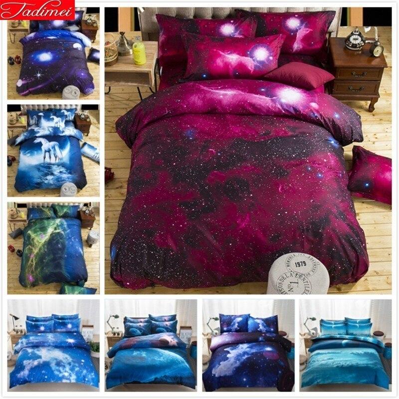 Impression 3D Creative Galaxy Stars enfants enfant 2/3/4 pièces ensemble de literie coton reine pleine taille unique housse de couette taie d'oreiller linge de lit