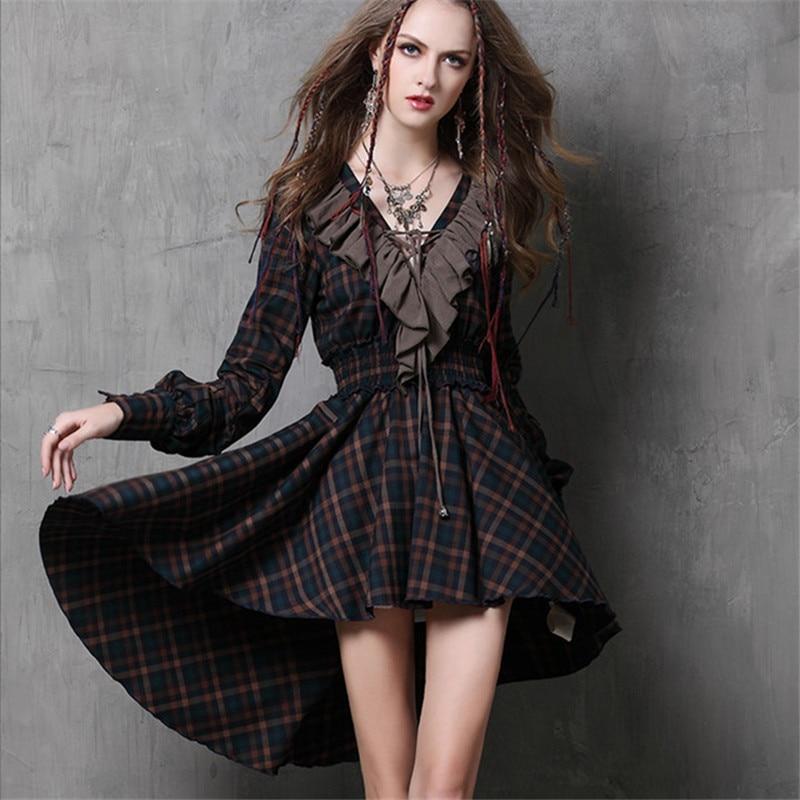 Женское винтажное платье туника, осеннее платье из хлопка с длинным рукавом и оборками