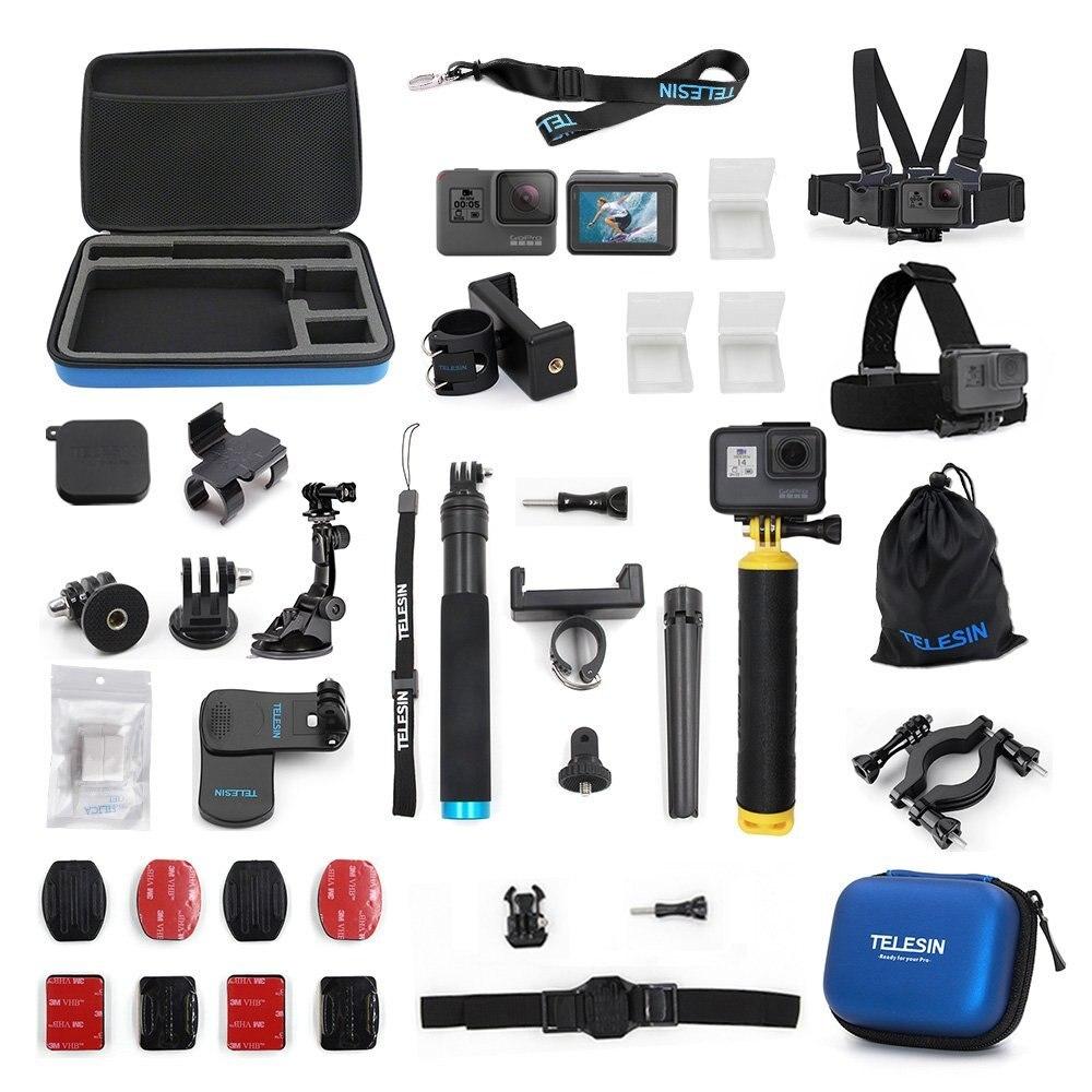 TELESIN accessoires étui 20 en 1 Kit de démarrage pour GoPro Hero 6/5 Hero 7 noir kit de caméra d'action Sport caméra Kit d'outils trépied Moun
