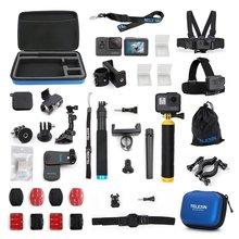 TELESIN อุปกรณ์เสริม 20 in 1 ชุดสำหรับ GoPro Hero 6/5 Hero 7 สีดำชุดกล้อง Action Sport กล้องชุดขาตั้งกล้อง Moun
