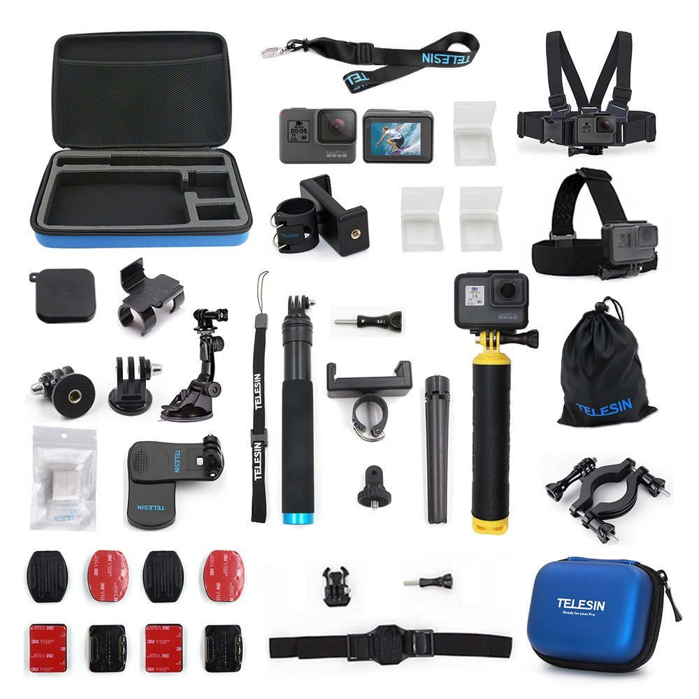 TELESIN Accessories Case 20 in 1 Starter Kit for GoPro Hero 6/5 Hero 7 Black Action Camera kit Sport Camera Set Case Tripod Moun цены