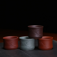 PINNY Yixing Purple Clay Bamboo Teacups 60ml Natural Ore Hand Made Tea Cups Yi Xing China Drinkware Heat Resistant Bowl
