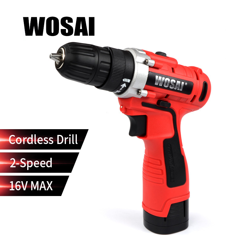 WOSAI 16V Electric Screwdriver Cordless Drill Mini Wireless Power Driver DC Lithium Ion Battery 3 8
