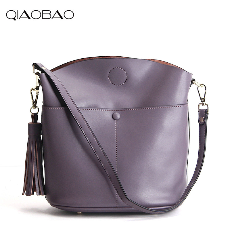 цена на QIAOBAO 100% Genuine Leather Bags ladies Bucket Bag cowhide totes female designer fashion big women bags crossbody sac a main
