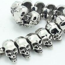 New Arrival Men's Super Cool Gothic 3D Skull Links Design Bangle Flashing lighting Polishing Stainless Steel Bracelet Jewelry