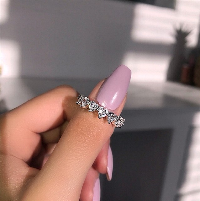 Heart Promise ring Real 925 Sterling silver AAAAA Cubic Zirconia Statement Party Wedding Band Rings for women Bridal Jewelry