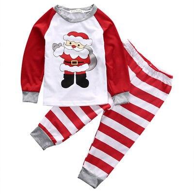 Pudcoco 2Pcs Christmas Kids Baby Girls Boys Night Sleepwear Homewear Pajamas Clothing Long Sleeve