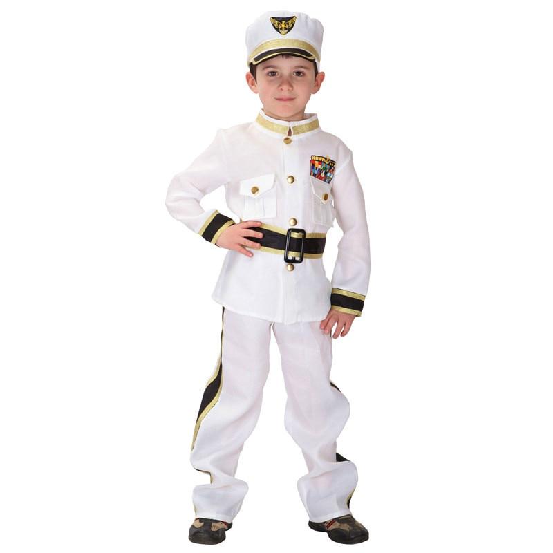 2018 New Police Navy Children Cosplay Hallowean Party Costumes Kids Boy White Uniforms