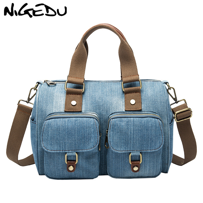 Luxury Brand Women handbag Casual Denim Shoulder Crossbody Bag for Female big Totes Large capacity Travel bag blue Bolsa