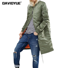 Spring ladies long bomber jackets women basic coats army gre
