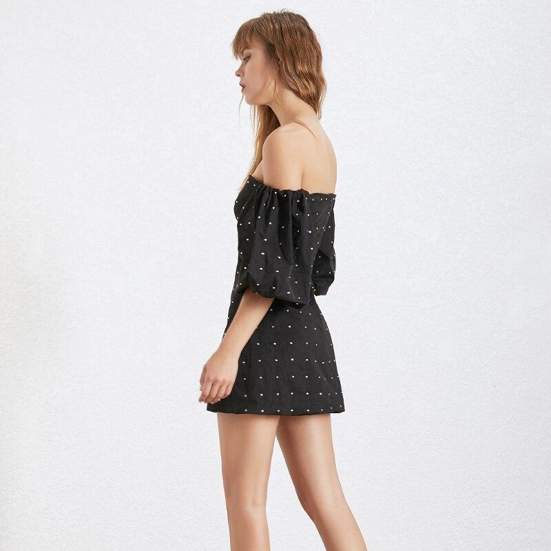 TWOTWINSTYLE Diamonds Patchwork Women's Dress Slash Neck Off Shoulder Lantern Sleeve High Waist Mini Party Dresses Female 2019