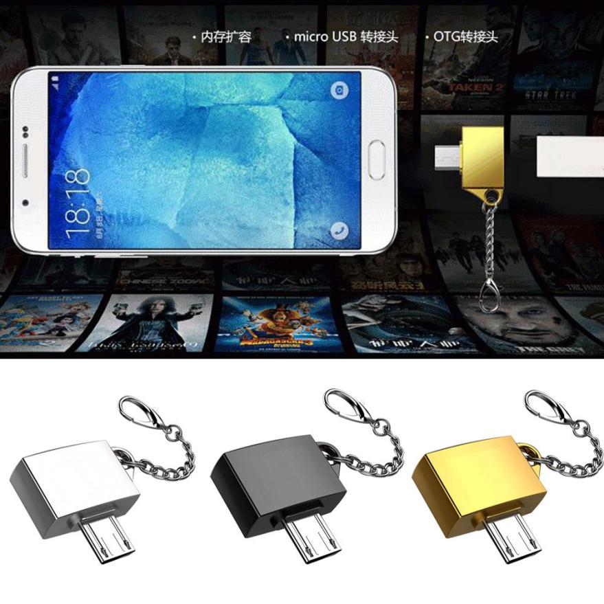 Metal Micro USB Male To USB 2.0 A Female OTG Converter Adapter With Key Chain   Cell Phone Adapter Accessories
