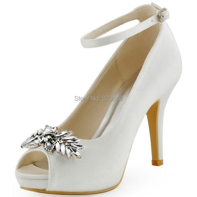 HP1544I Branco Peep Toe Bombas com Tira No Tornozelo Fivela De Cristal de Casamento Das Mulheres Noiva Sapatos de Salto Alto de Cetim Nupcial Sapatos de casamento Das Mulheres