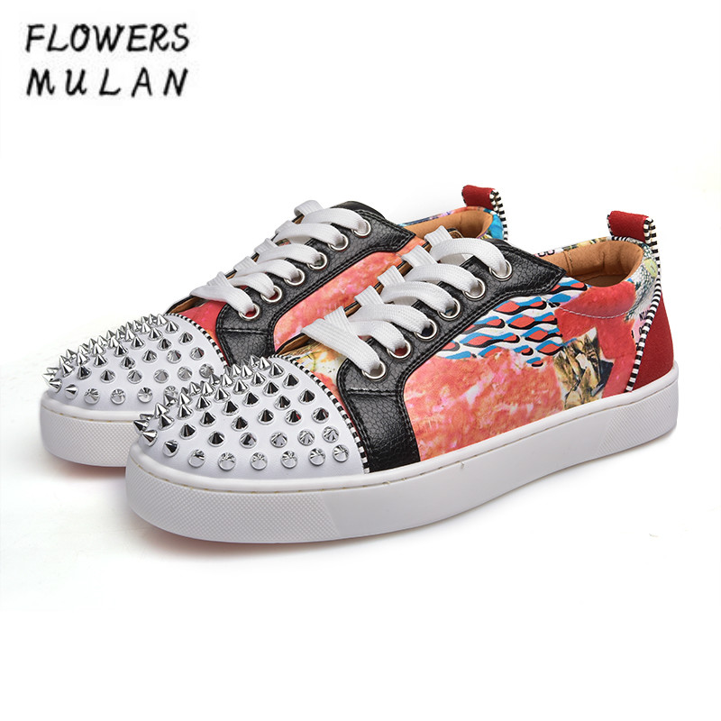 Spring Autumn New Lace Up Women Casual Shoes Round Studded Rivets Toe Printing Leather Sneakers Woman Footwear Flat Rubber Heel asumer 2018 fashion spring autumn new arrival flat shoes woman round toe lace up casual women genuine leather flats sneakers