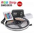RGB LED Strip Light 2835 SMD 60leds/m 5M Flexible Light LED Tape Waterproof IP65 With 24Key IR Remote 2A Power Supply DC12V