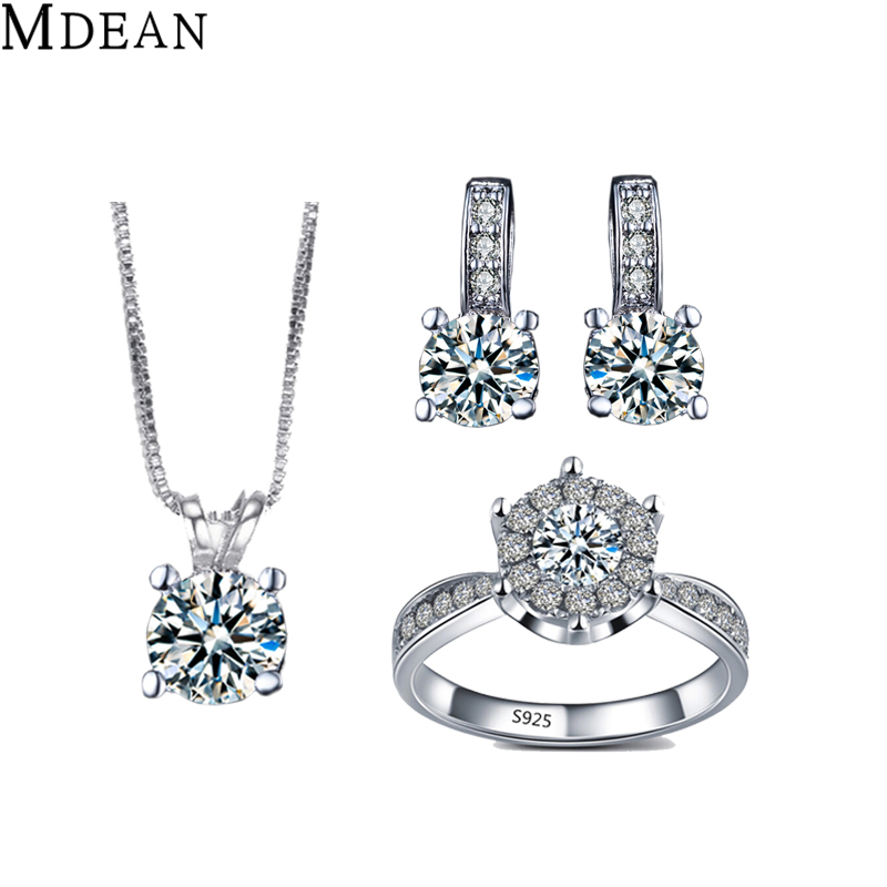 MDEAN White Gold plated Jewelry Sets Simulate Jewelry Elegant Engagement Vintage rings earrings necklace for women