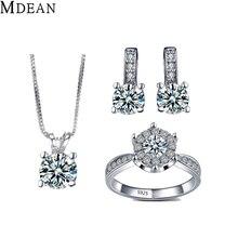 Mdean elegantes joyas de oro blanco plateó sistemas de la joyería simular anillos de compromiso de la vendimia + pendientes + collar para las mujeres