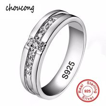 ef448cfee004 Tamaño 7 8 9 10 11 real pura plata Cruz Anillos conjunto CZ Diamant Anillos  de compromiso para amantes pareja 925 boda de plata .