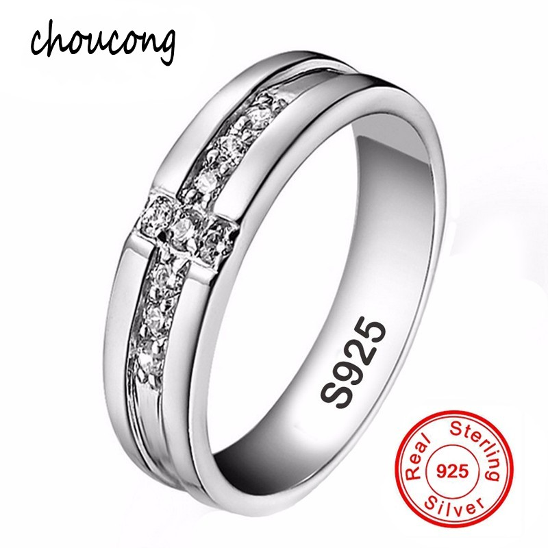 size 7891011 real pure silver cross rings set cz diamant engagement rings for lovers couple 925 silver wedding rings for men