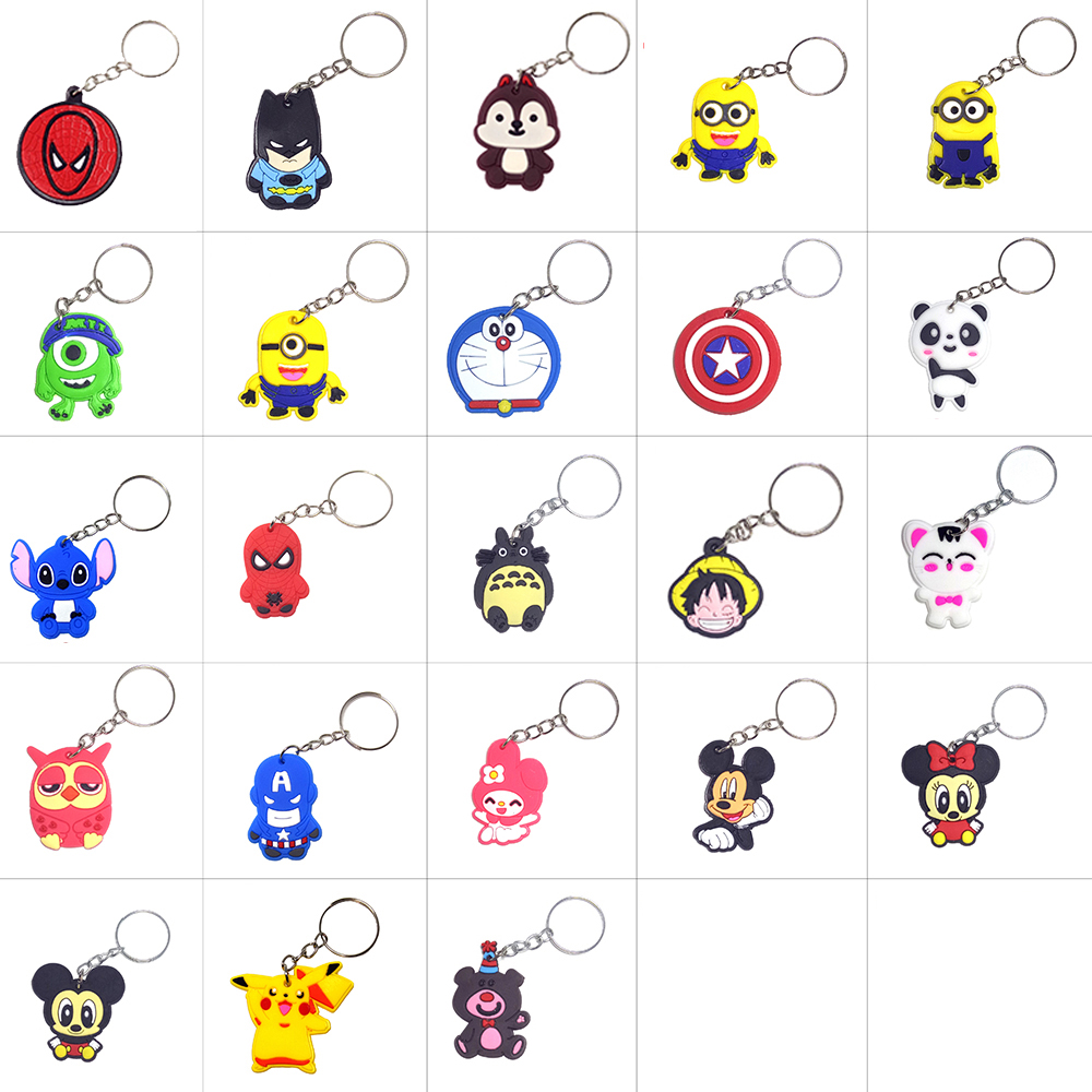 Anime Silicone Keychain Llaveros Key Chain Ring Bag Charm Key Holder Porte Clef Marvel Llavero Stitch Chaveiro(China)