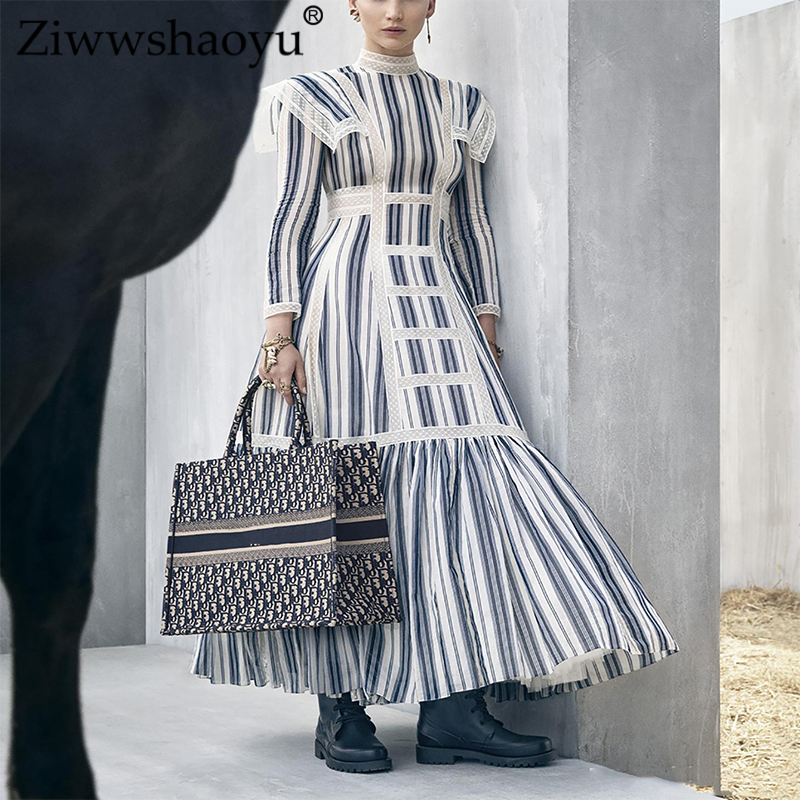 Ziwwshaoyu Elegant Stripe Cotton Long Dresses England Style Lace Patchwork Temperament Stand Dress  Spring And Summer Runway New