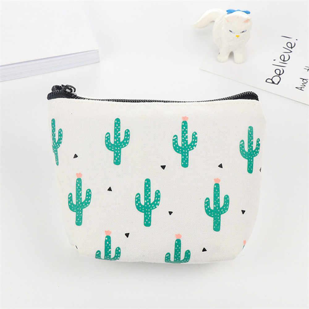 Cactus impressão Moda mini saco coin purse Mulheres carteiras bolsas carteiras de Couro Com Zíper pequeno Embreagem Bolsa Menina pequenos sacos * 0.35