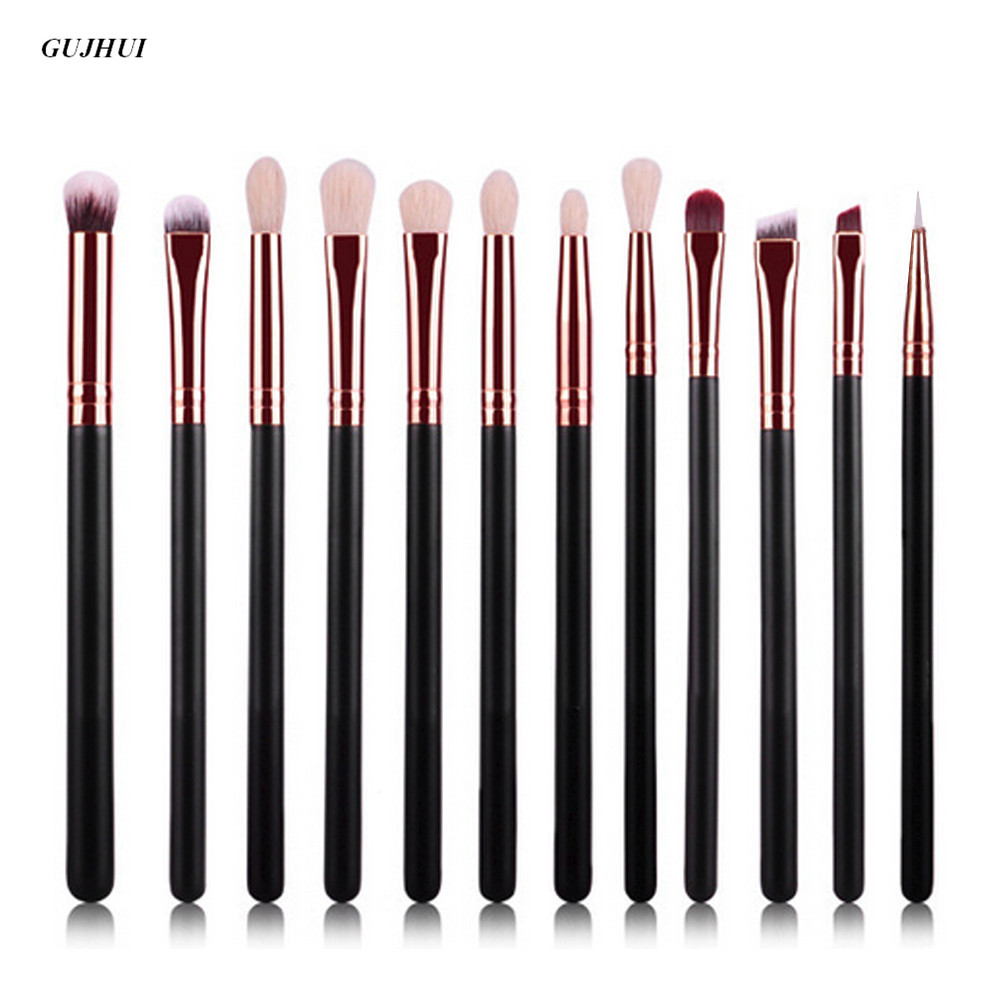 GUJHUI 12Pc Rose gold makeup brushes professional Eye Shadow Foundation Eyebrow oval Brush Cosmetic make up brush set toothbrush