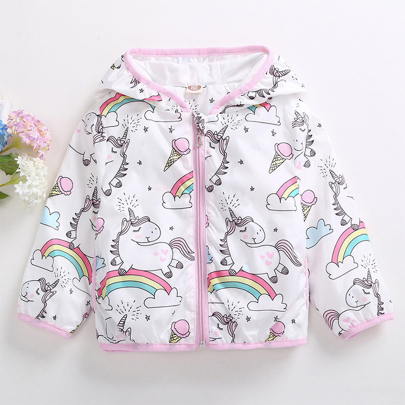 Girls Trench Coat Toddler Kids Girls Clothes Cartoon Printing Hooded Jacket Cute Windproof Windbreaker For Child Outerwear