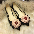 New 2016 brand same style women camellia flowers mixed colors shallow mouth pointed toe flat shoes lady single shoes 3 color