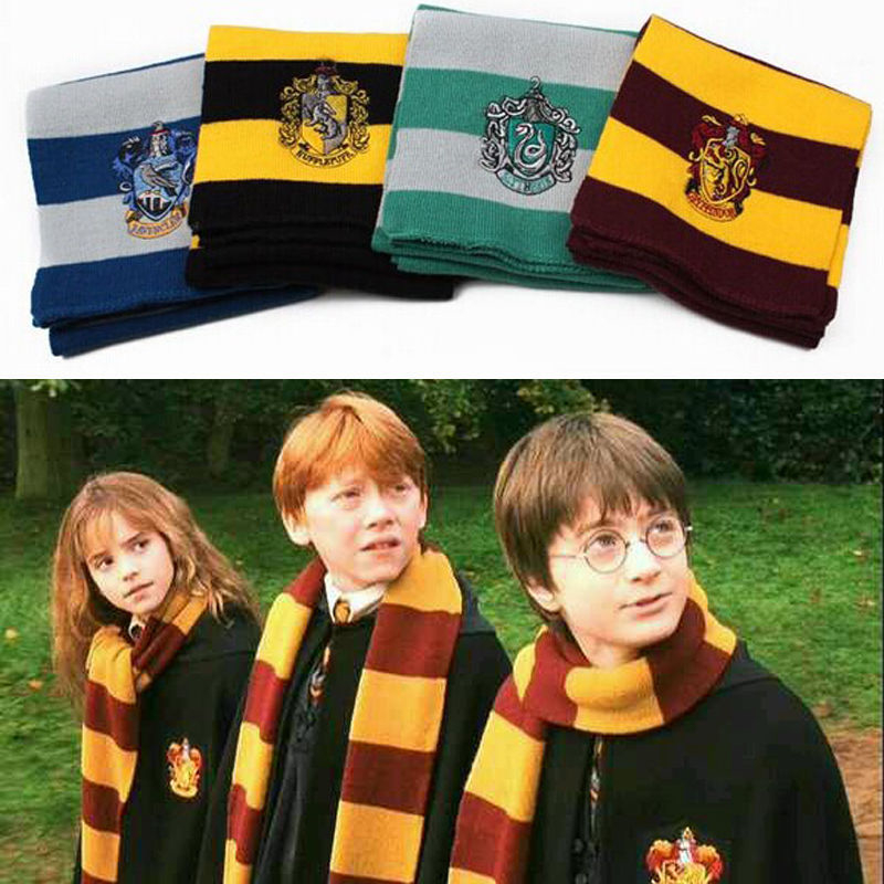 Potter Scarf Cosplay Costume Gryffindor/Slytherin/Hufflepuff/Ravenclaw Children Scarves Kids Props Halloween Boy Girl Christmas