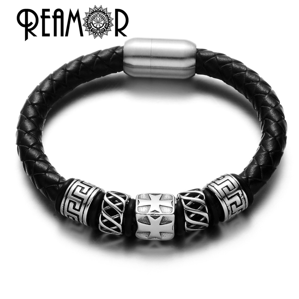 REAMOR 17-21cm 316L Stainless Steel 8mm Cross & Tibetan Totem Beads Natural Leather Bracelets For Men Design with Magnet Clasp