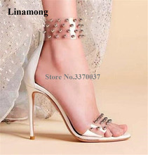 Women Charming Open Toe PVC Rivet Beaded Stiletto Heel Gladiator Sandals Back Transparent Studded High Dress Heels