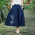 Fashion 2016 European Elastic Waist Cotton Pleated Skirt New Women's Vintage Embroidery Navy Blue White Long Skirts
