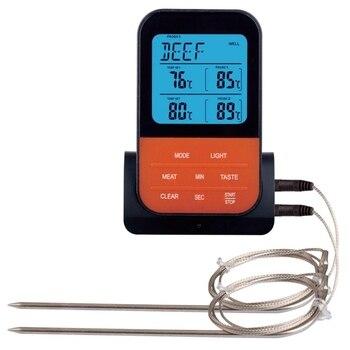 Thermomètre à viande à distance sans fil, température de cuisson numérique des aliments pour griller avec 2 sondes en acier inoxydable, minuterie BBQ