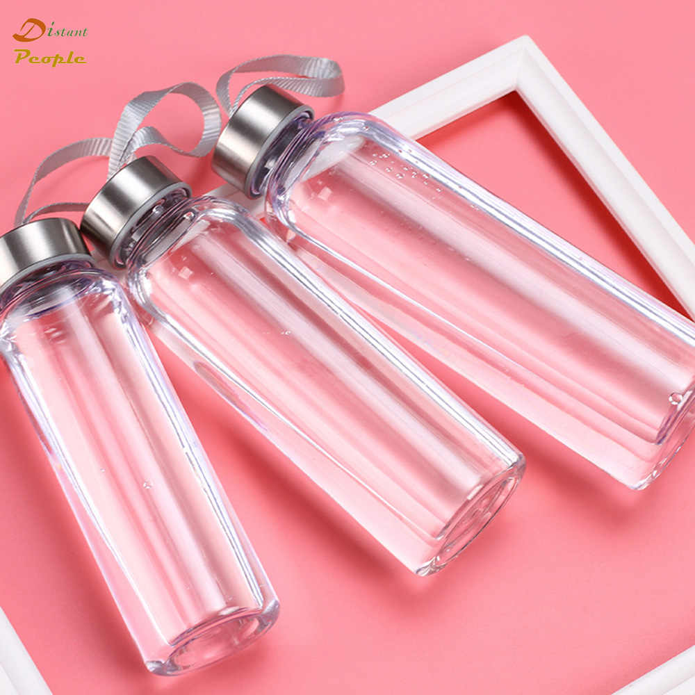 Portable Water Bottles Outdoor Sports Plastic Transparent Straight Round Leakproof Travel Carrying for Water Bottle Drinkware