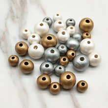 DIY 100Pcs Wooden Beads Round Ball Spacer Beads For Jewelry Making Natural Wood 8mm/10mm/12mm Silver Plated Beads New Style(China)