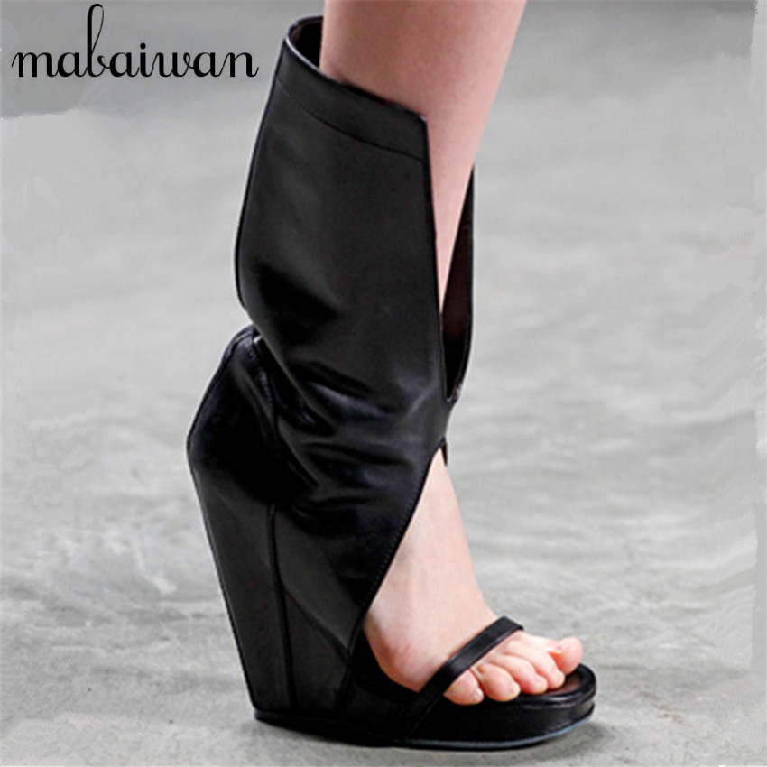 Punk Style Women Gladiator Sandals Black Slip On Summer Boots Platform Pumps Wedge Shoes Woman Wedges Sandalias Mujer phyanic platform gladiator sandals 2017 new casual wedge shoes woman summer women ankle boots side zipper party shoes phy5036