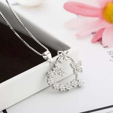 100% pure silver 925 love heart two butterflies necklace in jewelry women pendant necklace with CZ chain fashion silver jewelry цена 2017
