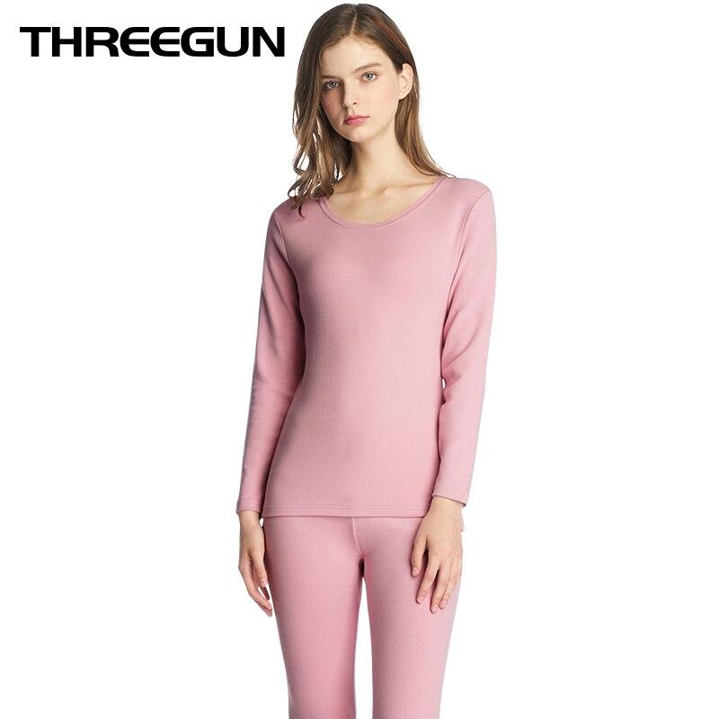 THREEGUN Women Thermal Underwear Sets Winter Warm Long Johns Soft Comfortable Cotton High Quality Feminino Ropa Mujer Invierno
