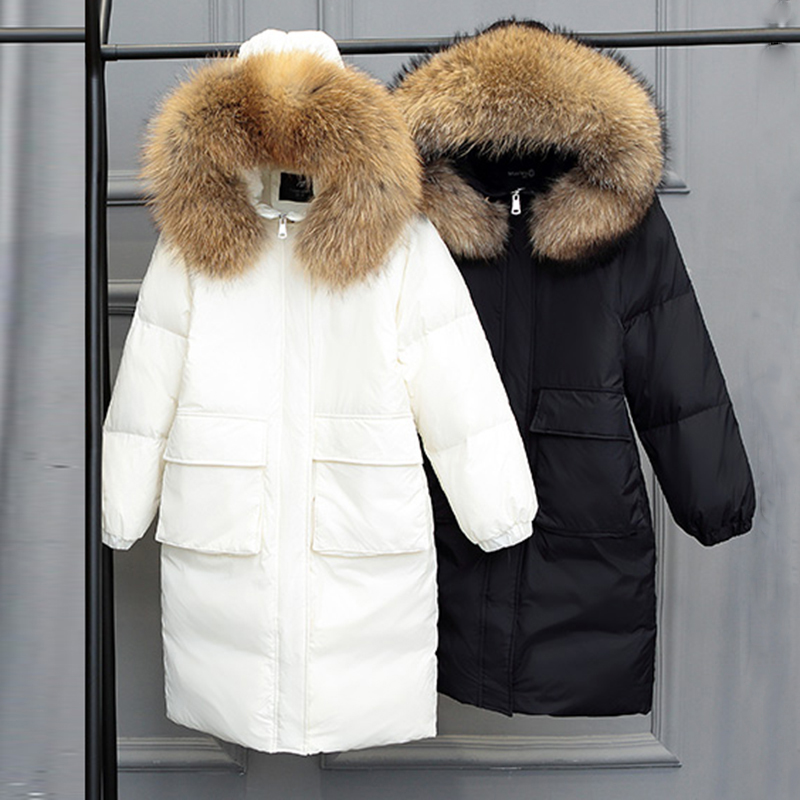 2018 new women winter   coat   female fur collar with a hood thermal Thick medium-long   down   women jacket White duck   down     coats