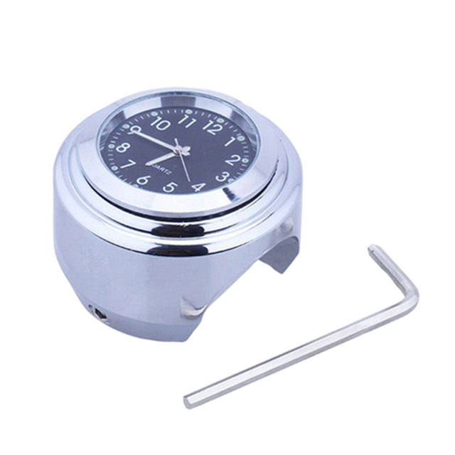 26mm /1″ 1Pc Universal Chrome Waterproof Motorcycle Handlebar Mount Clock Two Color Optional Watch