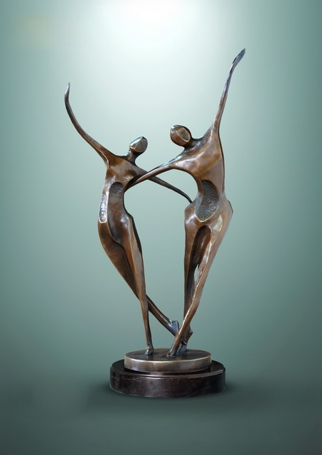 Bronze Sculptures Brass Statues Abstract Artwork Home Decor Modern Double Dancer Trophy Gifts Le 06f