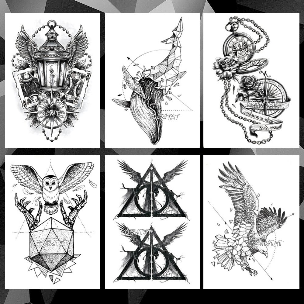 Lighthouse Owl Whale Waterproof Temporary Tattoo Sticker Clock Line Rose Flash Tattoos Body Art Arm Fake Sleeve Tatoo