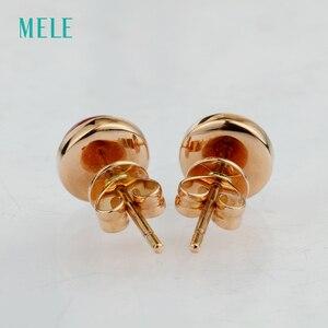 Image 4 - Серьги из розового золота Natutal rubellite, круглые 6 мм * 6 мм, розовое золото 18 карат, огранка кабошоном, красивый цвет