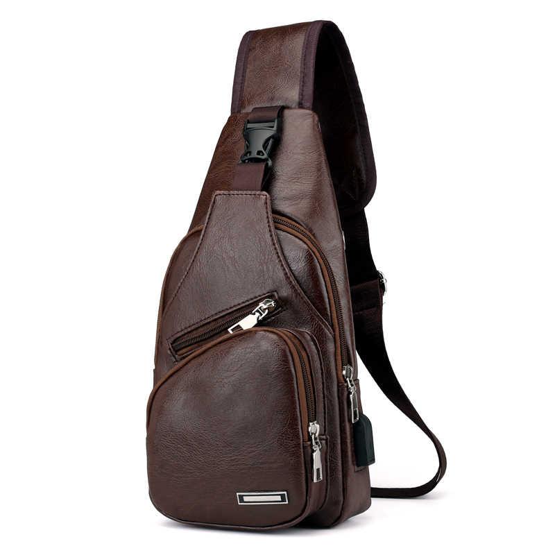 Men's USB Charging Bag Men's Chest Bag Cross-Border For Custom PU PVC Shoulder Bag Diagonal Package Messenger Travel Bag Men