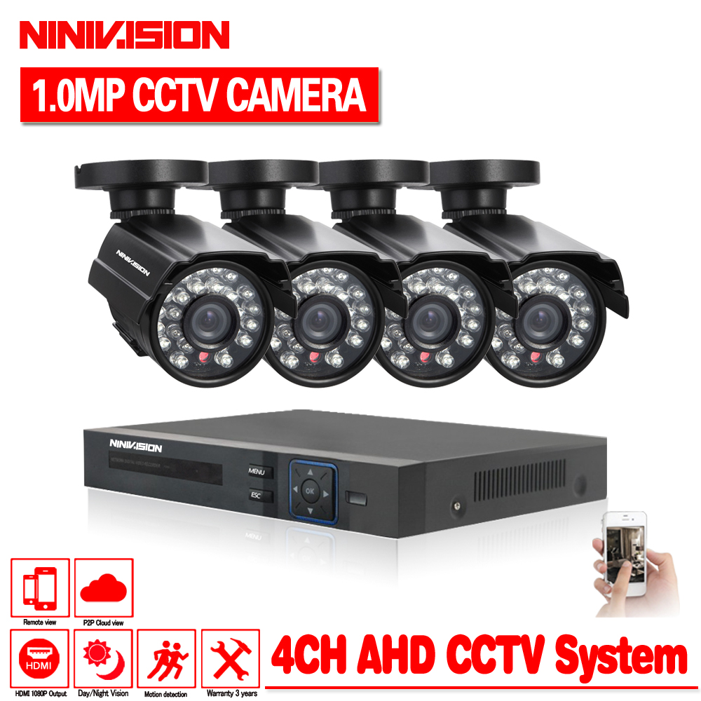 NINIVISION Security Camera System 4ch CCTV System DVR DIY Kit 4 x 720P Security Camera 1 ...