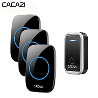 CACAZI Smart Wireless Doorbell Waterproof Remote 300M LED Intelligent Battery Button Calling Door Bell EU Plug 38 Chime 3 Volume
