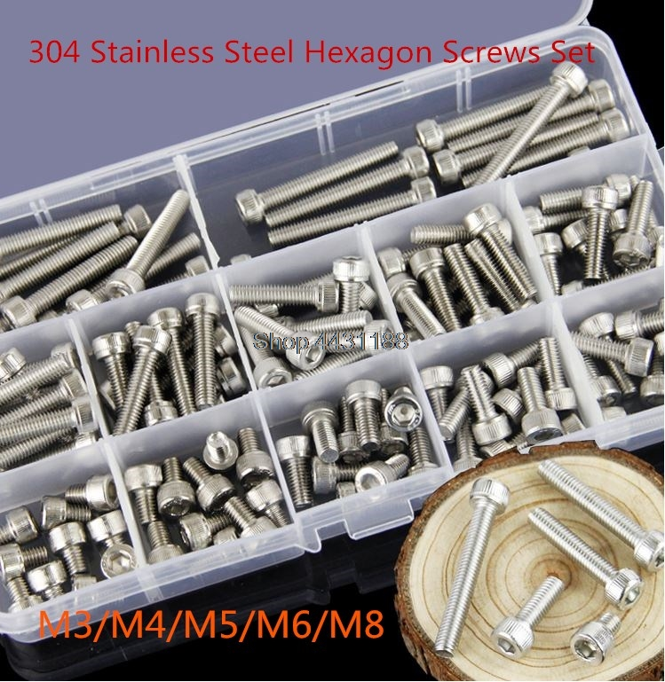 High quality M3/M4/M5/M6/M8 304 Stainless Steel Hexagon Socket Head Cap Screws Bicycle Hex Bolts Assortment Kit-in Bolts from Home Improvement