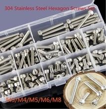 High quality M3/M4/M5/M6/M8 304 Stainless Steel Hexagon Socket Head Cap Screws Bicycle Hex Bolts Assortment Kit