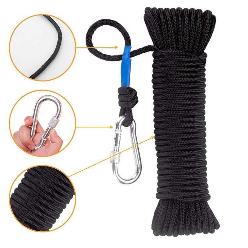 Fishing Magnet Rope 20 Meters, Heavy Rope with Safe Lock,Diameter 8Mm Nylon Rope Safe and Durable Black